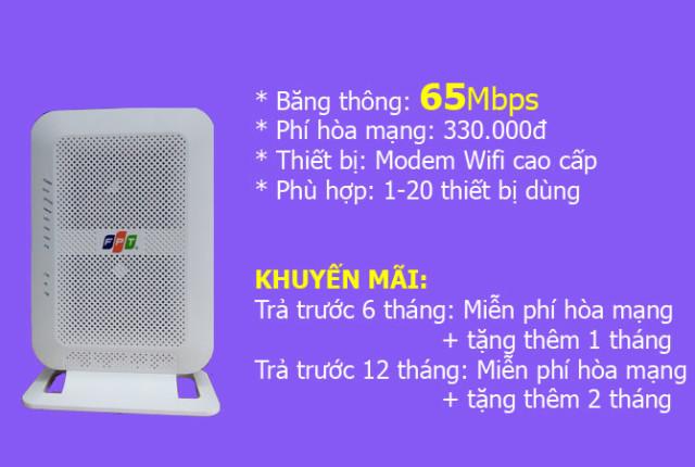 Lắp mạng FPT gói 65Mbps siêu tốc