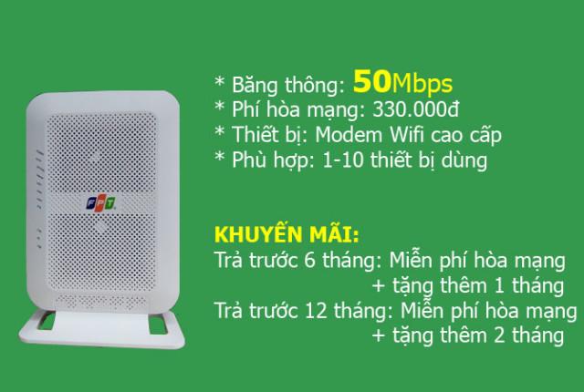 Lắp mạng FPT gói 50Mb gia đình, cửa hàng